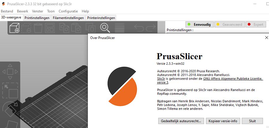 PrusaSlicer voor Prusa printer
